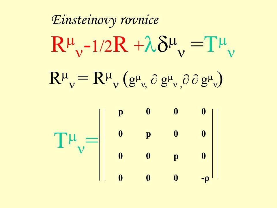 Einsteinovy rovnice R  - 1/2 R +  =T  R  = R  ( g ,  g ,   g  ) p000 0p00 00p0 000-ρ T  =