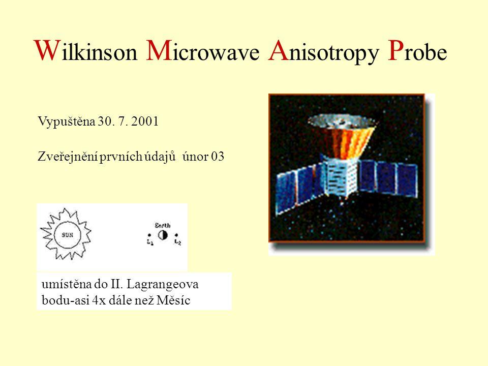W ilkinson M icrowave A nisotropy P robe Vypuštěna 30. 7. 2001 Zveřejnění prvních údajů únor 03 umístěna do II. Lagrangeova bodu-asi 4x dále než Měsíc
