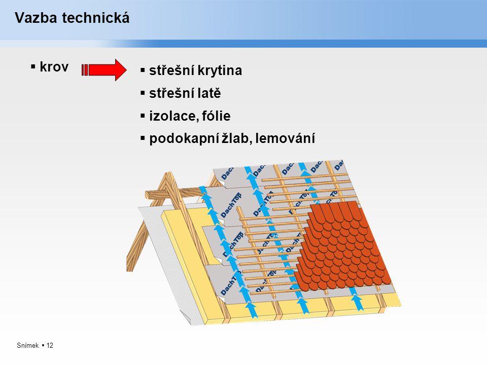 Snímek  12 Vazba technická  krov  střešní krytina  střešní latě  izolace, fólie  podokapní žlab, lemování