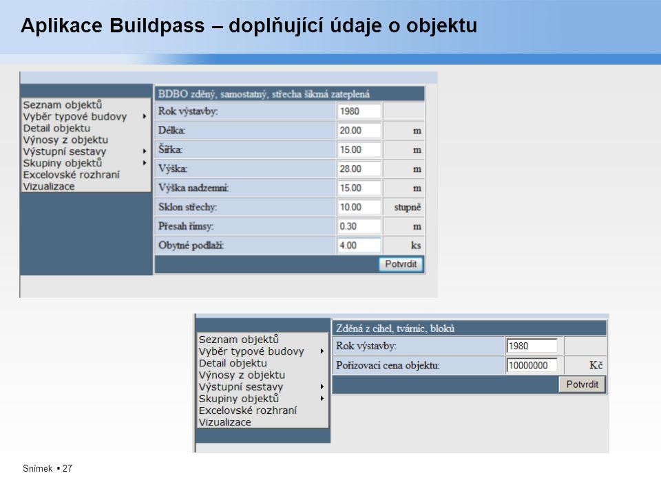 Snímek  27 Aplikace Buildpass – doplňující údaje o objektu