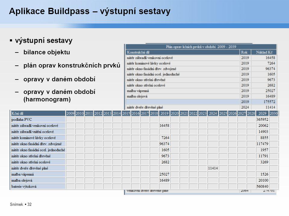 Snímek  32 Aplikace Buildpass – výstupní sestavy  výstupní sestavy –bilance objektu –plán oprav konstrukčních prvků –opravy v daném období –opravy v