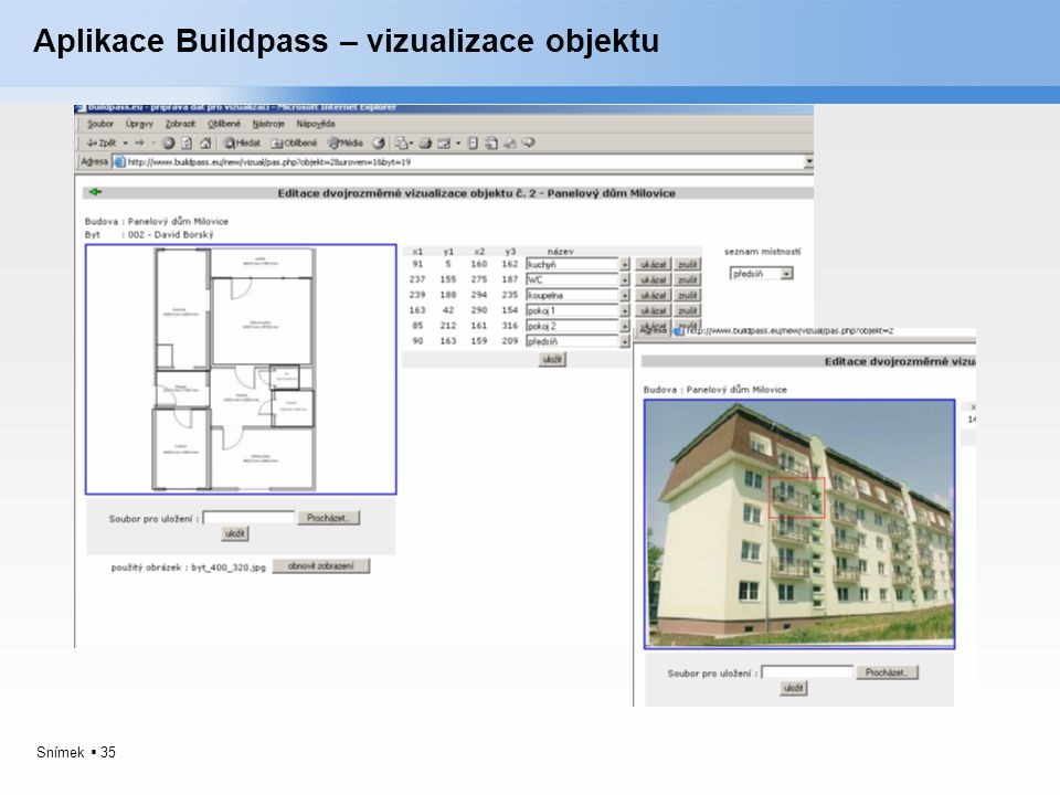 Snímek  35 Aplikace Buildpass – vizualizace objektu
