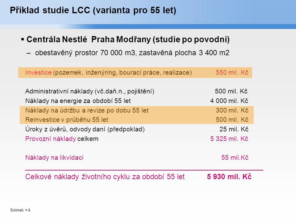 Snímek  4 Příklad studie LCC (varianta pro 55 let)  Centrála Nestlé Praha Modřany (studie po povodni) –obestavěný prostor 70 000 m3, zastavěná ploch