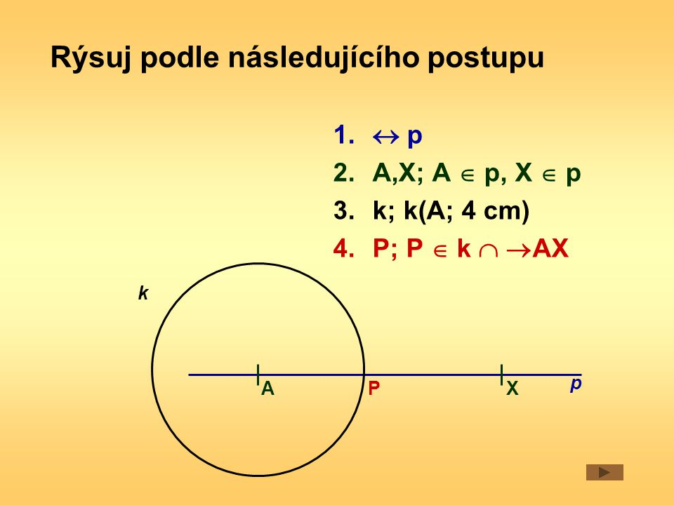 1.DE;  DE  = 5 cm 2.EDX;  EDX  = 40° 3.k; k (D; 4,3 cm) 4.F; F   DX  k 5.