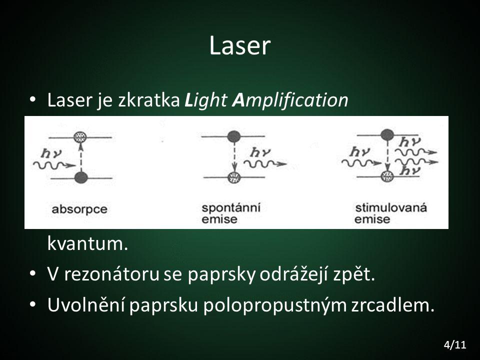 Laser Laser je zkratka Light Amplification by Stimulated Emission of Radiation. Zdroj dodává energii na excitaci prostředí. Vznik inverzní populace. P