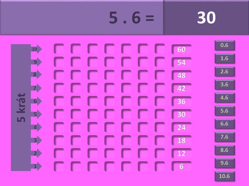 5. 6 = 30 5 krát 1 2 3 4 5 6 7 8 9 10 1.6 2.6 3.6 4.6 5.6 6.6 7.6 8.6 9.6 10.6 0.6