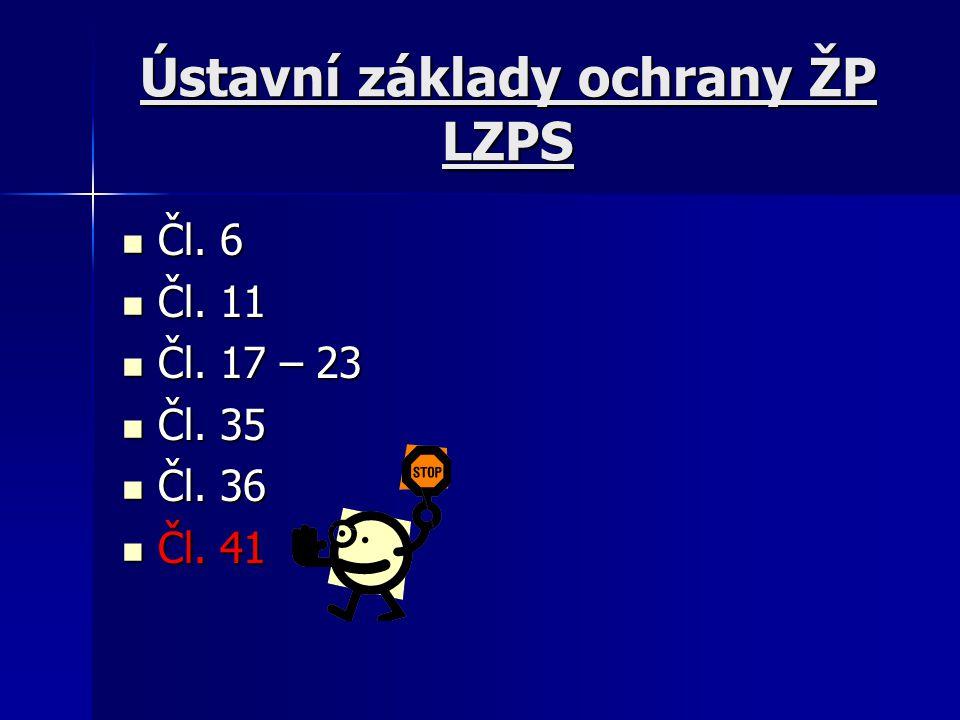 Ústavní základy ochrany ŽP LZPS Čl.6 Čl. 6 Čl. 11 Čl.