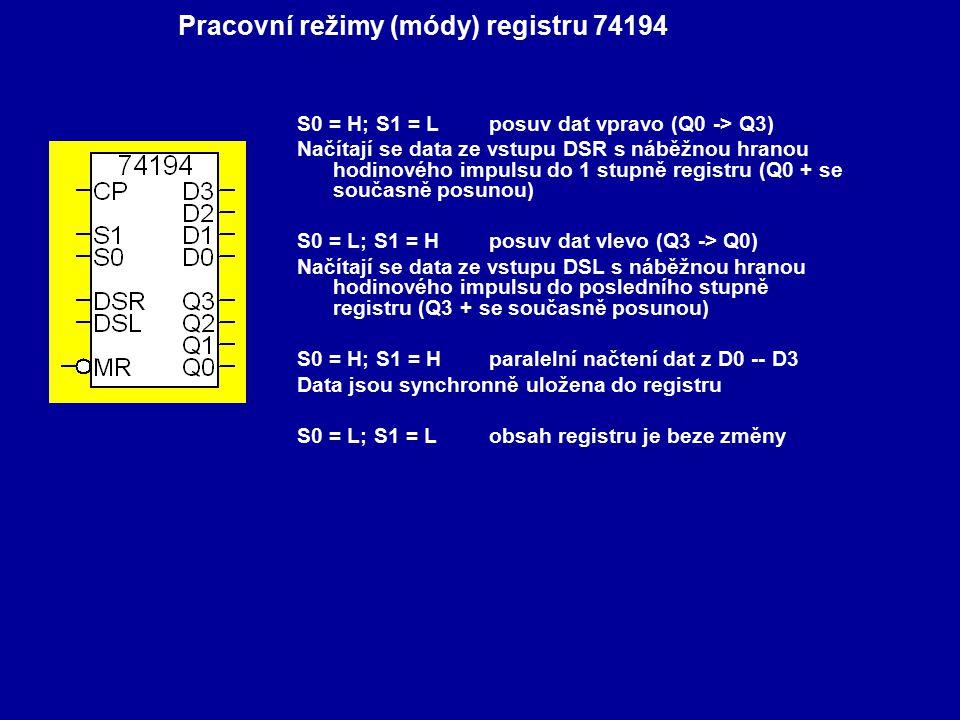S0 = H; S1 = L posuv dat vpravo (Q0 -> Q3) Načítají se data ze vstupu DSR s náběžnou hranou hodinového impulsu do 1 stupně registru (Q0 + se současně