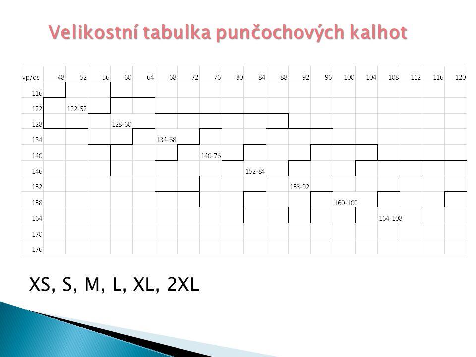 Velikostní tabulka punčochových kalhot XS, S, M, L, XL, 2XL