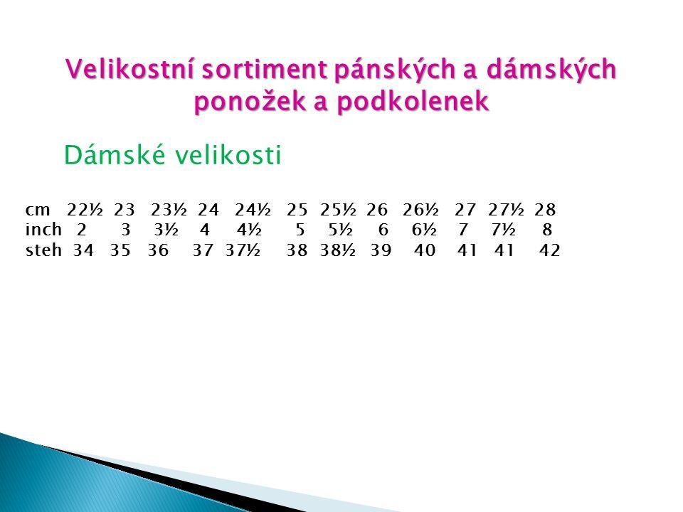 Velikostní sortiment pánských a dámských ponožek a podkolenek Dámské velikosti cm 22½ 23 23½ 24 24½ 25 25½ 26 26½ 27 27½ 28 inch 2 3 3½ 4 4½ 5 5½ 6 6½