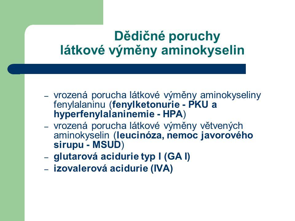 – vrozená porucha látkové výměny aminokyseliny fenylalaninu (fenylketonurie - PKU a hyperfenylalaninemie - HPA) – vrozená porucha látkové výměny větve