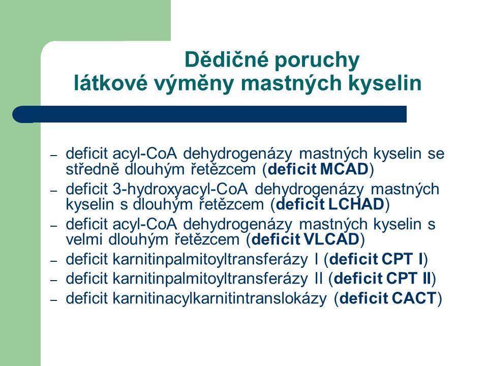 Dědičné poruchy látkové výměny mastných kyselin – deficit acyl-CoA dehydrogenázy mastných kyselin se středně dlouhým řetězcem (deficit MCAD) – deficit