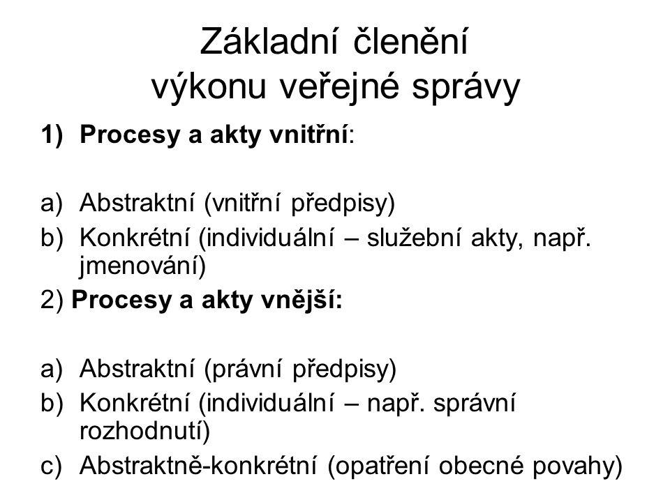 Základní členění výkonu veřejné správy 1)Procesy a akty vnitřní: a)Abstraktní (vnitřní předpisy) b)Konkrétní (individuální – služební akty, např. jmen
