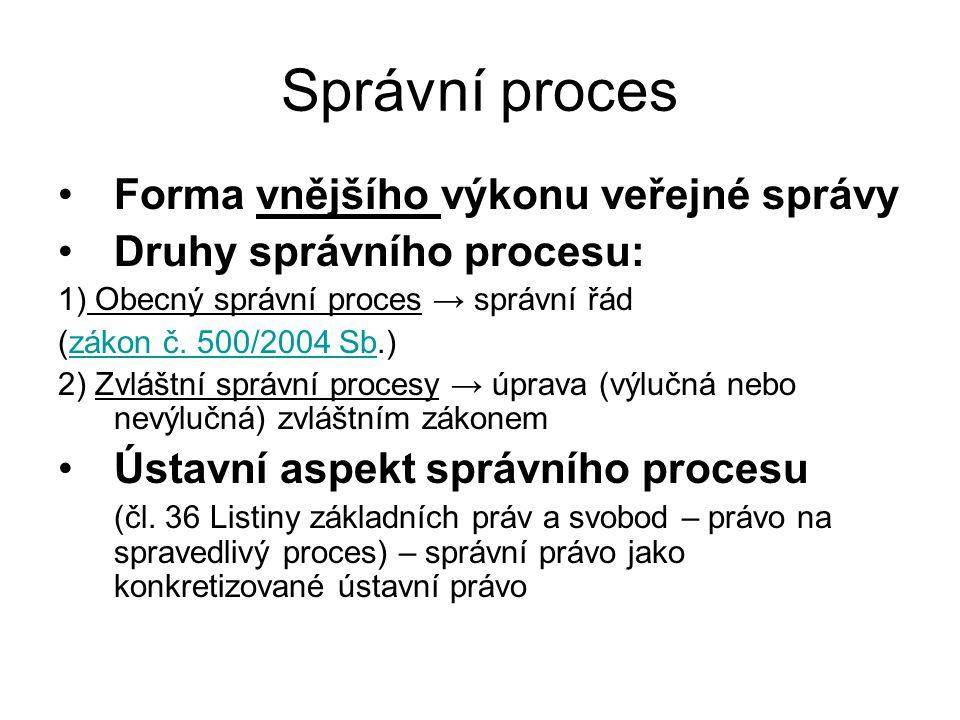 Správní proces Forma vnějšího výkonu veřejné správy Druhy správního procesu: 1) Obecný správní proces → správní řád (zákon č. 500/2004 Sb.)zákon č. 50