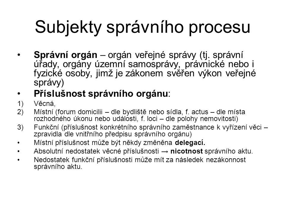 Subjekty správního procesu Dotčený orgán – orgán veřejné správy nebo jiná instituce (např.