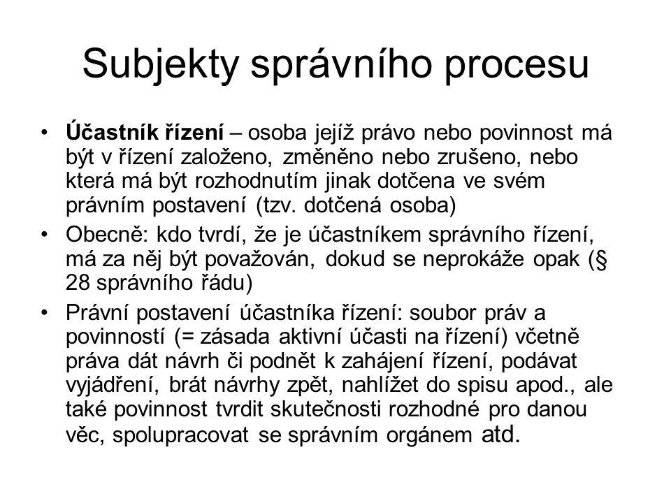 Subjekty správního procesu Svědci Znalci Tlumočníci Osoby disponující listinou nebo věcí