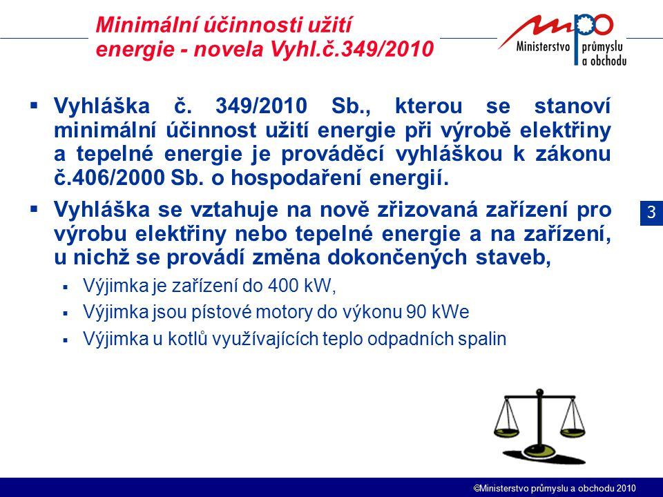  Ministerstvo průmyslu a obchodu 2010  Vyhláška č. 349/2010 Sb., kterou se stanoví minimální účinnost užití energie při výrobě elektřiny a tepelné e