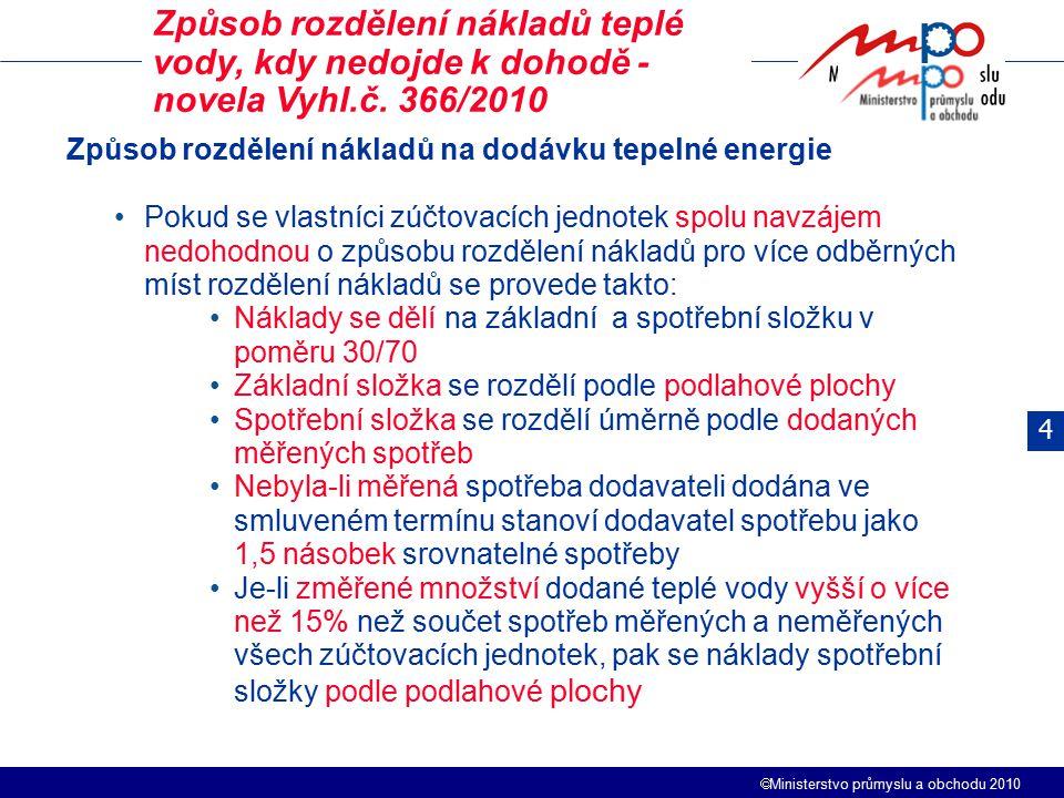 Ministerstvo průmyslu a obchodu 2010 4 Způsob rozdělení nákladů teplé vody, kdy nedojde k dohodě - novela Vyhl.č. 366/2010 Způsob rozdělení nákladů
