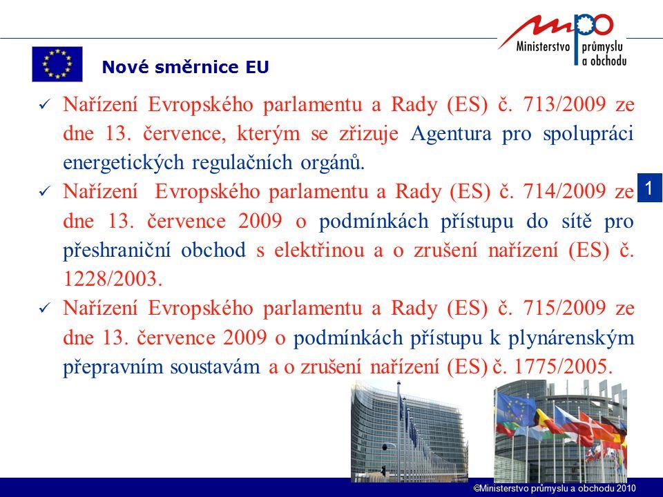  Ministerstvo průmyslu a obchodu 2010 Nařízení Evropského parlamentu a Rady (ES) č. 713/2009 ze dne 13. července, kterým se zřizuje Agentura pro spol