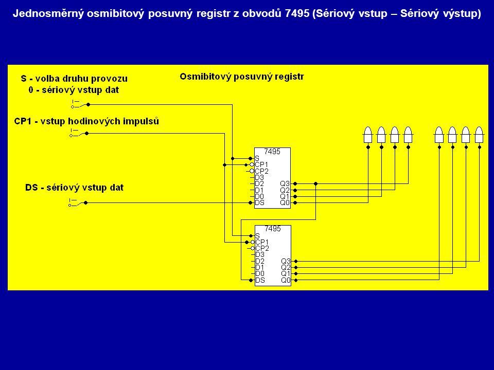0bvod 7496 ( pětibitový posuvný registr ) S- Sériový vstup dat PE - Uvolnění paralelních datových vstupů CP- hodinové pulsy PstA - paralelní datové vstupy PstB PstC PstD PstE MR- reset registru QA - QE - výstupy