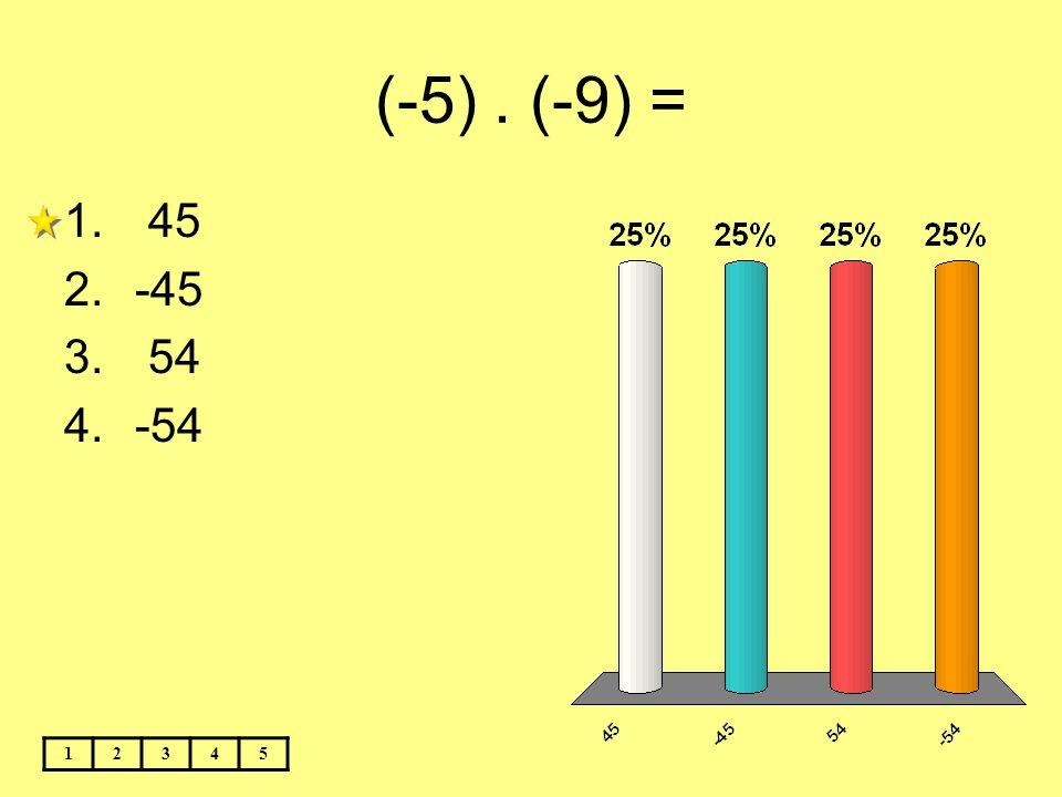 (-5). (-9) = 12345 1. 45 2.-45 3. 54 4.-54