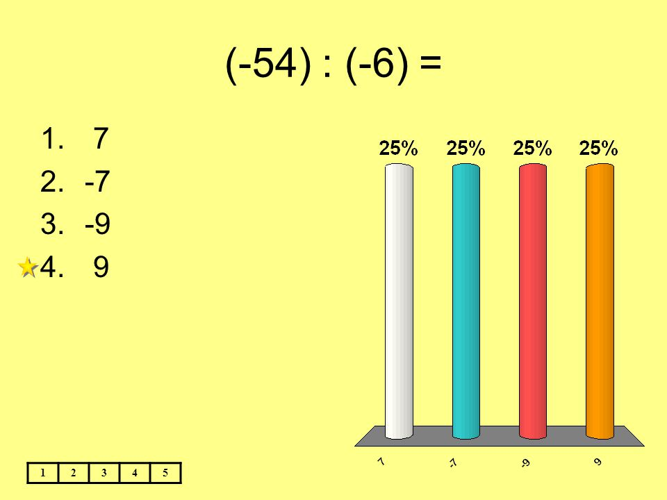 (-54) : (-6) = 12345 1. 7 2.-7 3.-9 4. 9