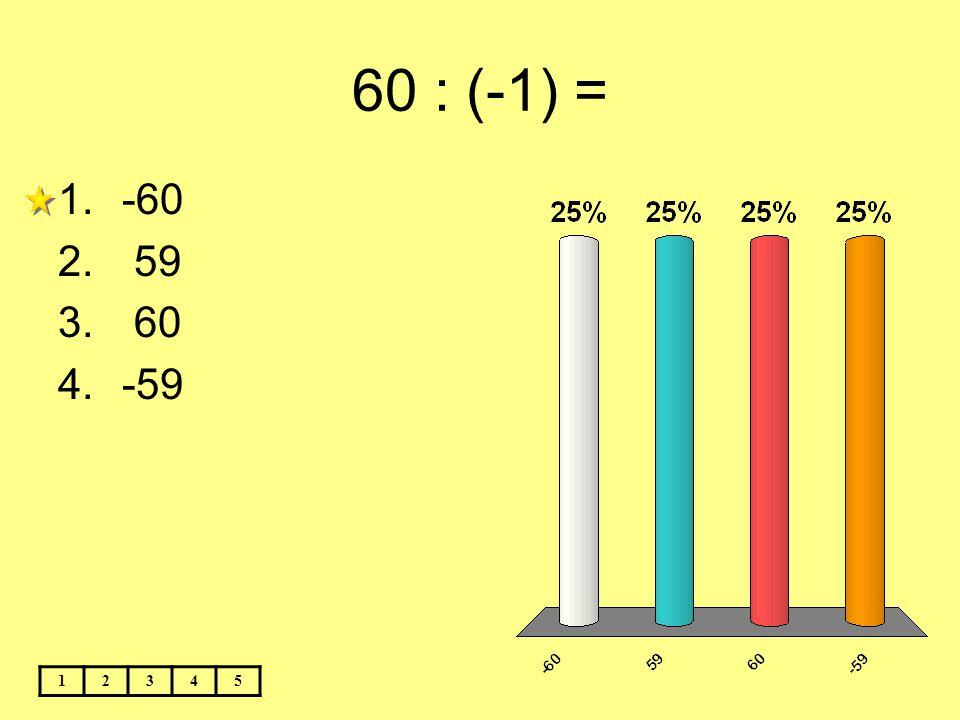 60 : (-1) = 12345 1.-60 2. 59 3. 60 4.-59