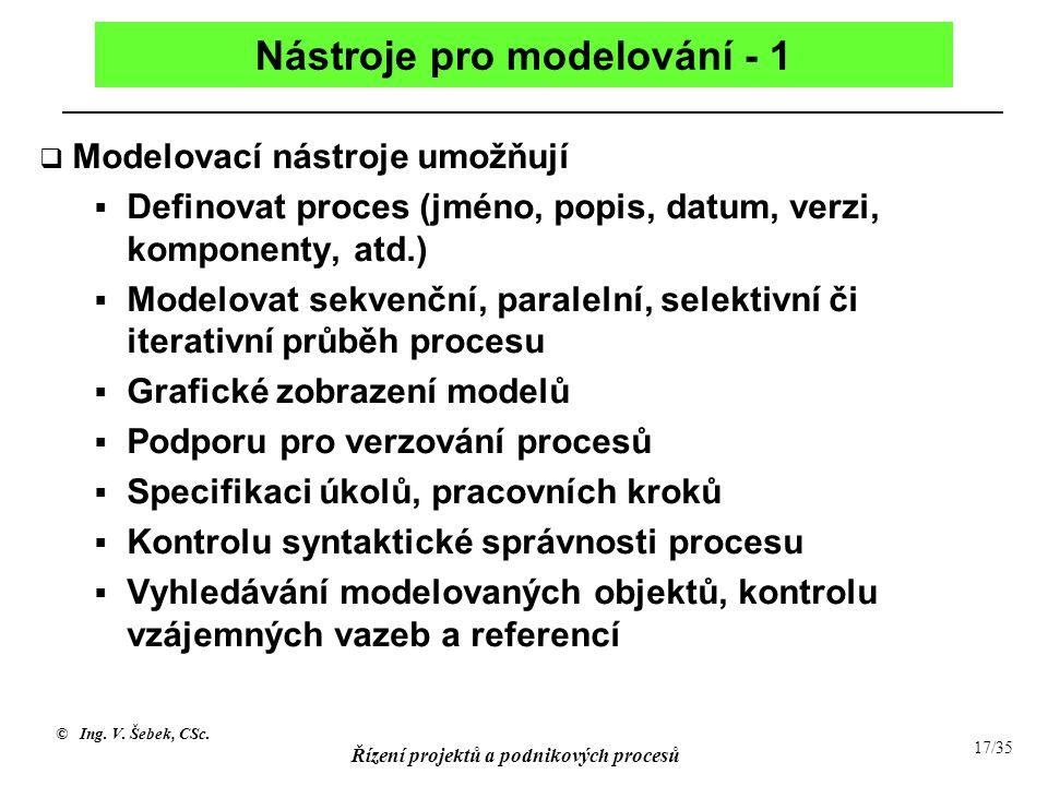 © Ing. V. Šebek, CSc. Řízení projektů a podnikových procesů 17/35 Nástroje pro modelování - 1  Modelovací nástroje umožňují  Definovat proces (jméno