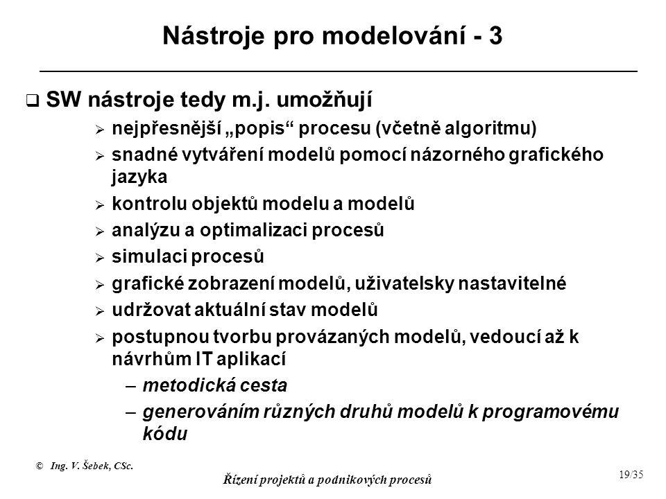 """© Ing. V. Šebek, CSc. Řízení projektů a podnikových procesů 19/35 Nástroje pro modelování - 3  SW nástroje tedy m.j. umožňují  nejpřesnější """"popis"""""""