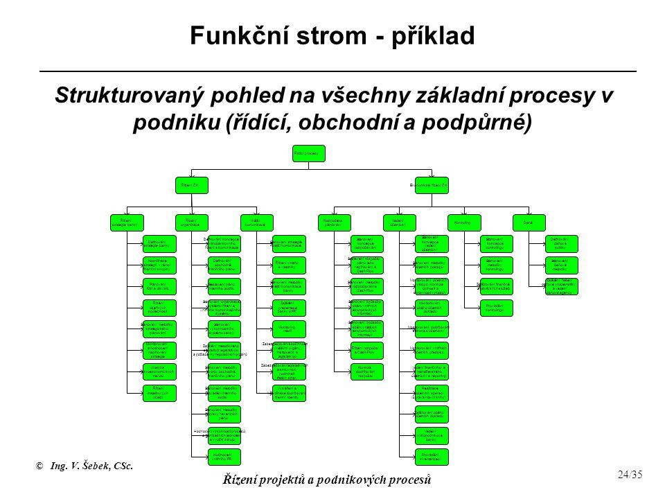 © Ing. V. Šebek, CSc. Řízení projektů a podnikových procesů 24/35 Funkční strom - příklad Strukturovaný pohled na všechny základní procesy v podniku (