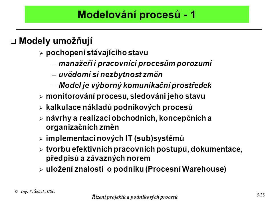 © Ing. V. Šebek, CSc. Řízení projektů a podnikových procesů 5/35 Modelování procesů - 1  Modely umožňují  pochopení stávajícího stavu –manažeři i pr