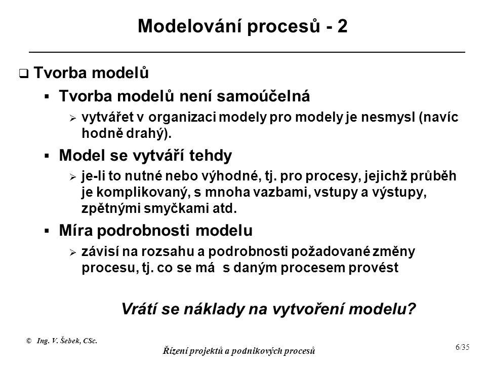 © Ing. V. Šebek, CSc. Řízení projektů a podnikových procesů 6/35 Modelování procesů - 2  Tvorba modelů  Tvorba modelů není samoúčelná  vytvářet v o