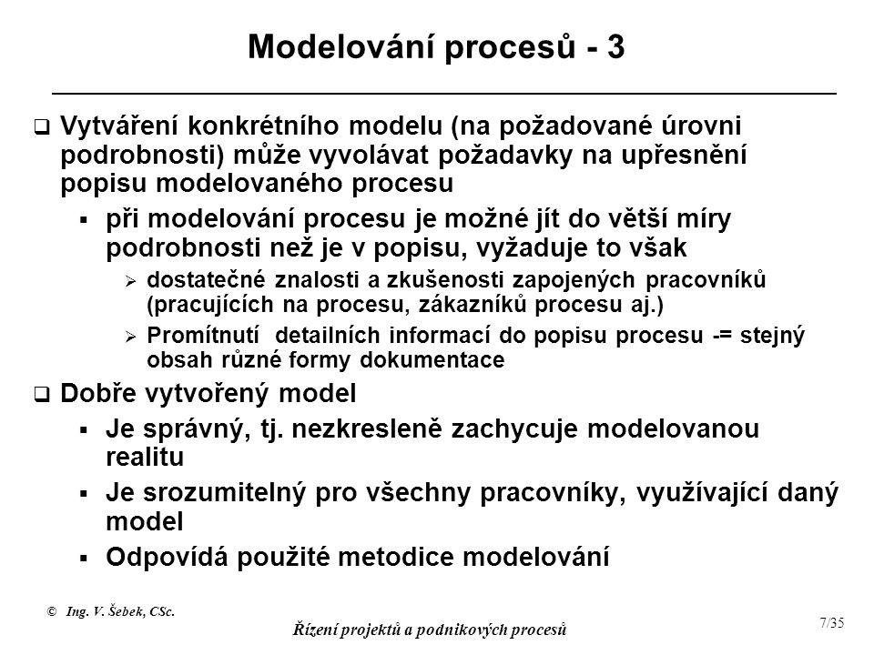 © Ing. V. Šebek, CSc. Řízení projektů a podnikových procesů 7/35 Modelování procesů - 3  Vytváření konkrétního modelu (na požadované úrovni podrobnos