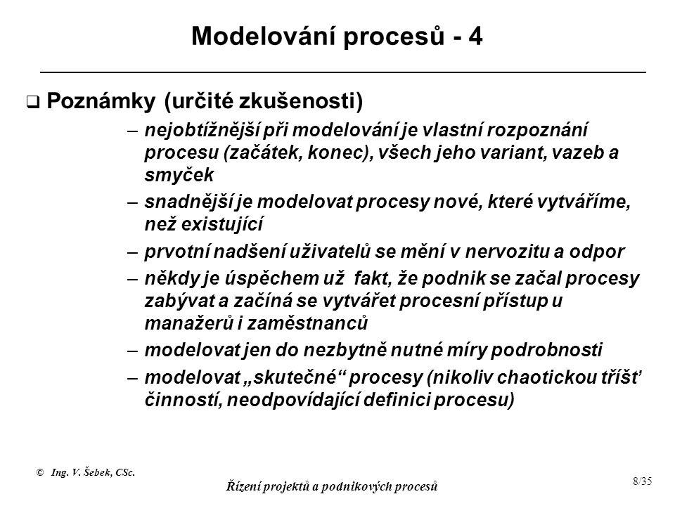 © Ing. V. Šebek, CSc. Řízení projektů a podnikových procesů 8/35 Modelování procesů - 4  Poznámky (určité zkušenosti) –nejobtížnější při modelování j