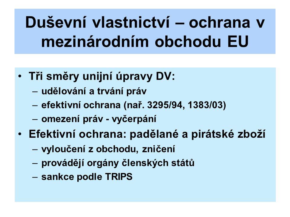 Duševní vlastnictví – ochrana v mezinárodním obchodu EU Tři směry unijní úpravy DV: –udělování a trvání práv –efektivní ochrana (nař. 3295/94, 1383/03