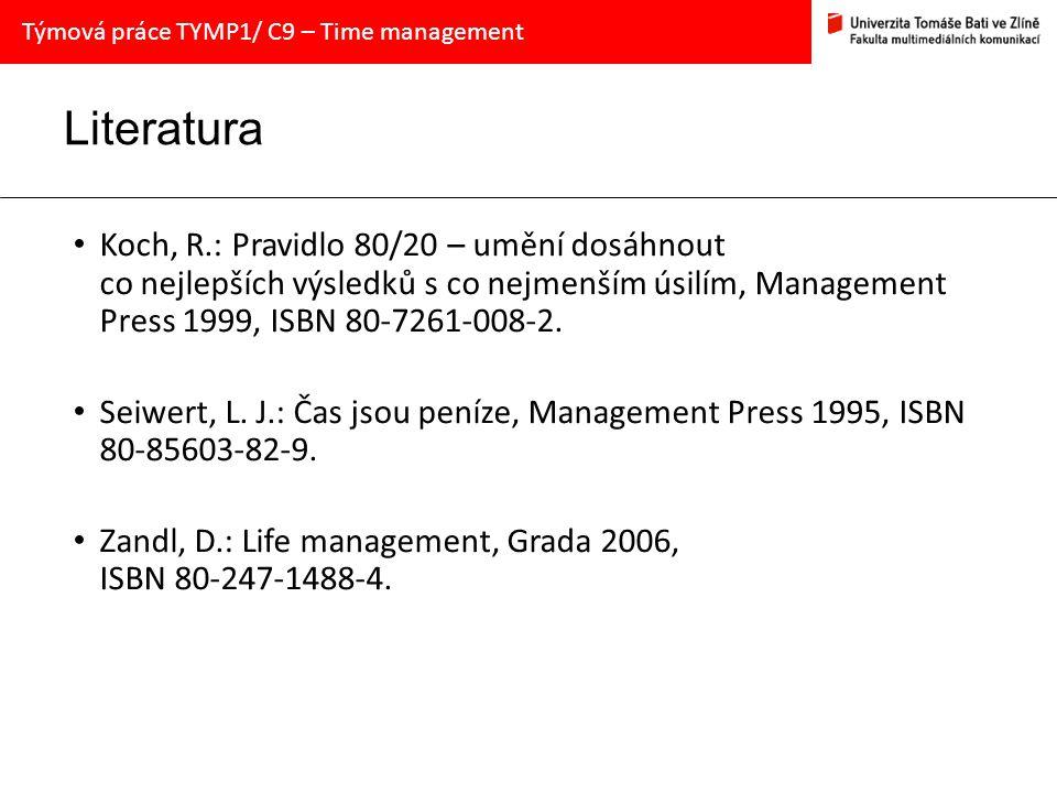 Literatura Koch, R.: Pravidlo 80/20 – umění dosáhnout co nejlepších výsledků s co nejmenším úsilím, Management Press 1999, ISBN 80-7261-008-2.