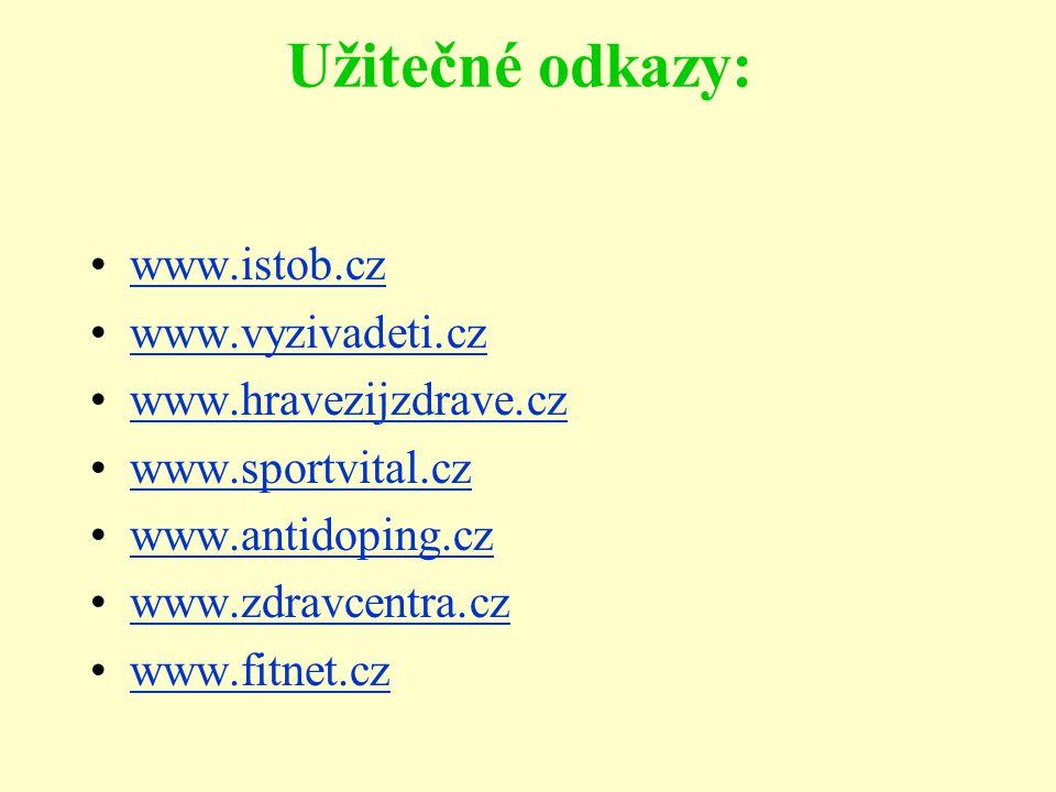 Užitečné odkazy: www.istob.cz www.vyzivadeti.cz www.hravezijzdrave.cz www.sportvital.cz www.antidoping.cz www.zdravcentra.cz www.fitnet.cz