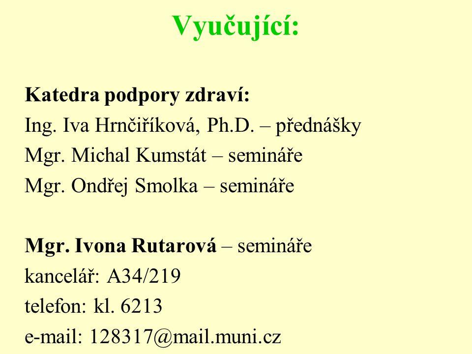 Vyučující: Katedra podpory zdraví: Ing. Iva Hrnčiříková, Ph.D. – přednášky Mgr. Michal Kumstát – semináře Mgr. Ondřej Smolka – semináře Mgr. Ivona Rut