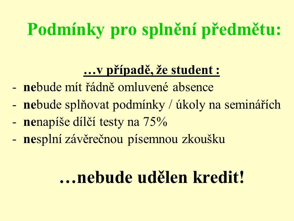 Podmínky pro splnění předmětu: …v případě, že student : -nebude mít řádně omluvené absence -nebude splňovat podmínky / úkoly na seminářích -nenapíše d