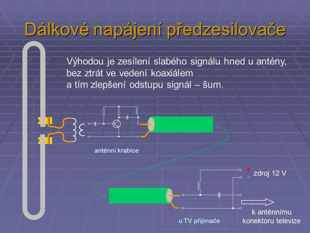 Dálkové napájení předzesilovače k anténnímu konektoru televize +-+- zdroj 12 V Výhodou je zesílení slabého signálu hned u antény, bez ztrát ve vedení koaxiálem a tím zlepšení odstupu signál – šum.