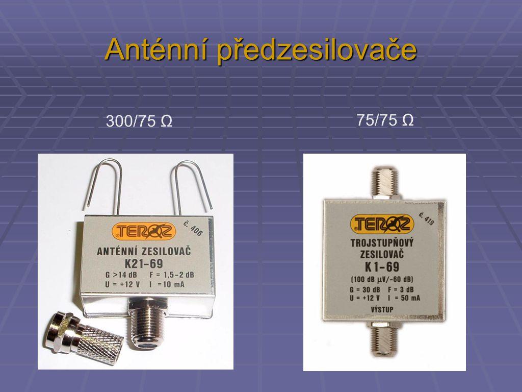Anténní předzesilovače 300/75 Ω 75/75 Ω