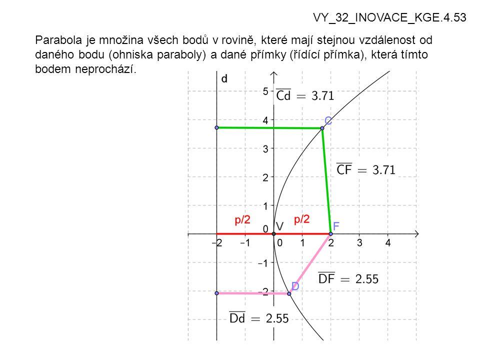 4 Parabola je množina všech bodů v rovině, které mají stejnou vzdálenost od daného bodu (ohniska paraboly) a dané přímky (řídící přímka), která tímto bodem neprochází.