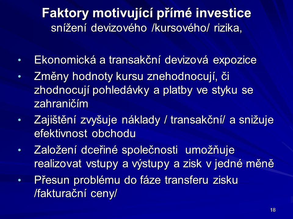 Faktory motivující přímé investice snížení devizového /kursového/ rizika, Faktory motivující přímé investice snížení devizového /kursového/ rizika, Ek