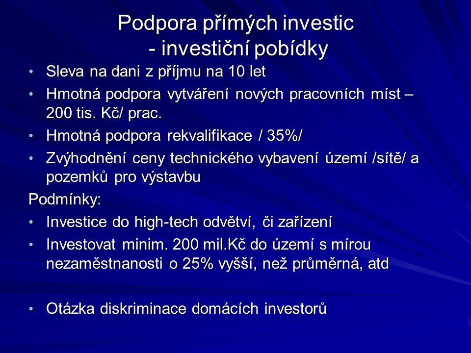 Podpora přímých investic - investiční pobídky Sleva na dani z příjmu na 10 let Sleva na dani z příjmu na 10 let Hmotná podpora vytváření nových pracovních míst – 200 tis.