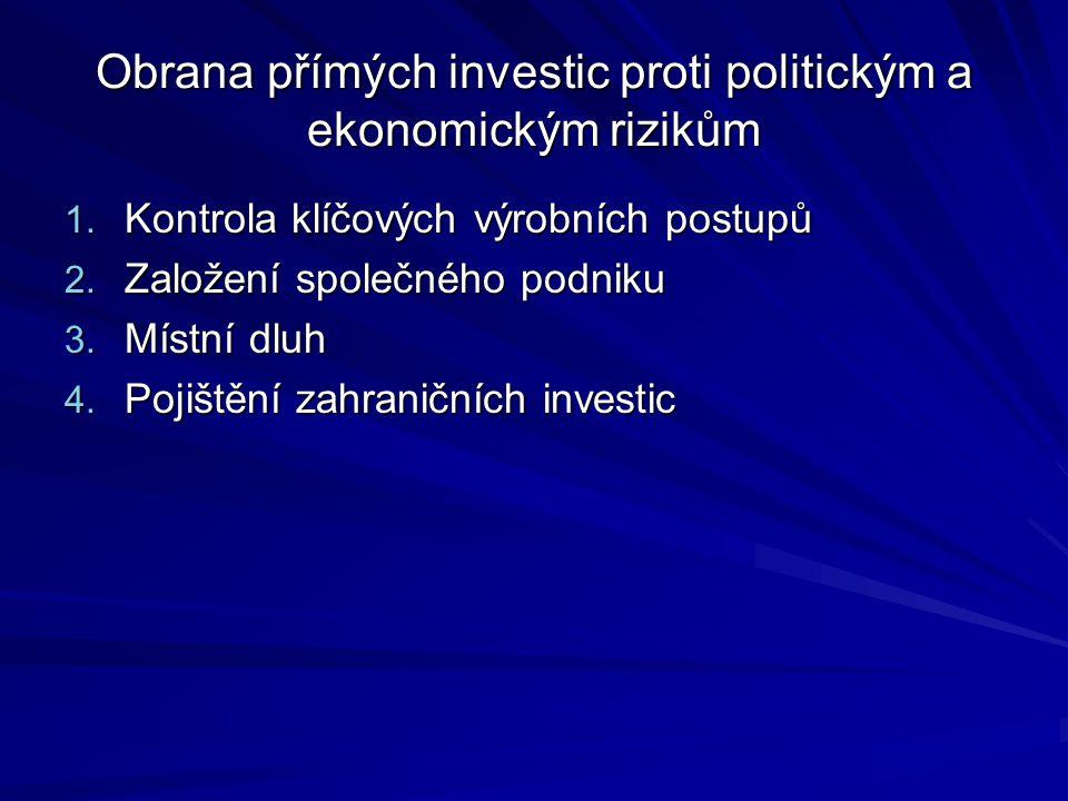 Obrana přímých investic proti politickým a ekonomickým rizikům 1. Kontrola klíčových výrobních postupů 2. Založení společného podniku 3. Místní dluh 4