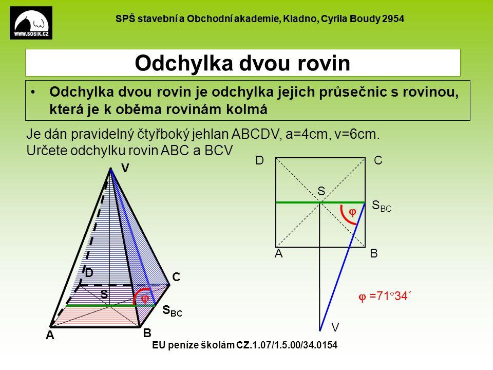 SPŠ stavební a Obchodní akademie, Kladno, Cyrila Boudy 2954 EU peníze školám CZ.1.07/1.5.00/34.0154 Odchylka dvou rovin Odchylka dvou rovin je odchylk