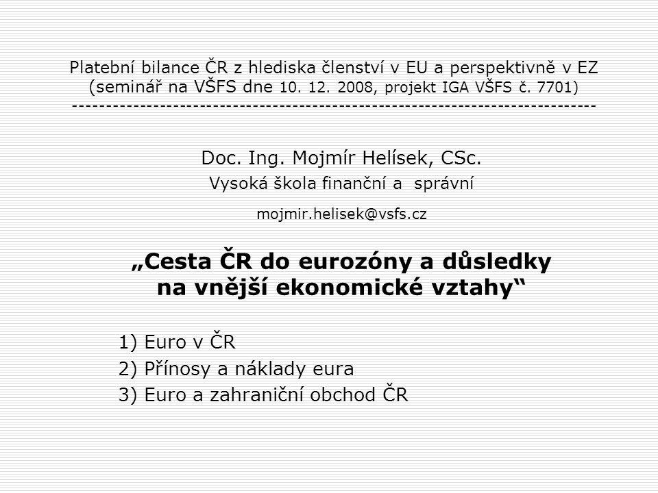 Platební bilance ČR z hlediska členství v EU a perspektivně v EZ (seminář na VŠFS dne 10. 12. 2008, projekt IGA VŠFS č. 7701) ------------------------