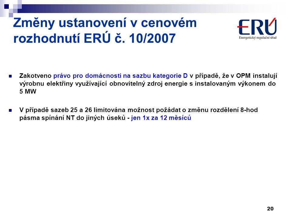 20 Změny ustanovení v cenovém rozhodnutí ERÚ č. 10/2007 Zakotveno právo pro domácnosti na sazbu kategorie D v případě, že v OPM instalují výrobnu elek