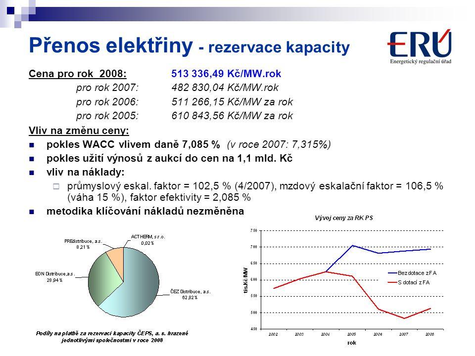3 Přenos elektřiny - rezervace kapacity Cena pro rok 2008: 513 336,49 Kč/MW.rok pro rok 2007:482 830,04 Kč/MW.rok pro rok 2006: 511 266,15 Kč/MW za ro