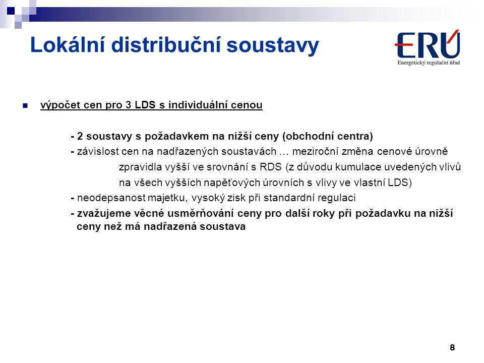 8 Lokální distribuční soustavy výpočet cen pro 3 LDS s individuální cenou - 2 soustavy s požadavkem na nižší ceny (obchodní centra) - závislost cen na